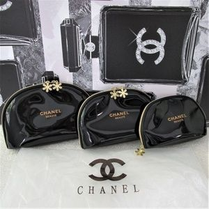NEW CHANEL Patent Leather Logo Makeup Bag 3 PC Set
